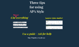 Three Tips for APA Style