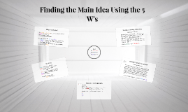 Copy of Finding the Main Idea Using the 5 W's
