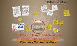 The Effect of Hand Held Devices to the attitudes of college