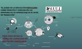 tesis para optar al grado de licenciatura en Educacion Parvu