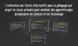 L'utilisation des textes informatifs dans la pédagogie par p
