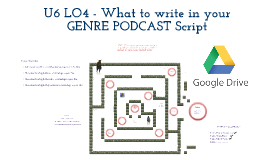 What to write in your U6 LO4 GENRE PODCAST Google Doc Script