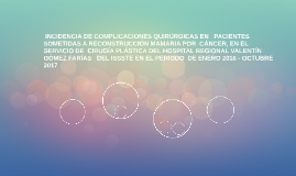INCIDENCIA DE COMPLICACIONES QUIRÚRGICAS EN   PACIENTES