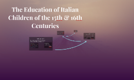 The Education of Italian Children of the 15th & 16th Centuri