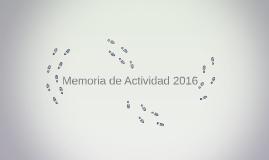 Memoria de Actividad 2016