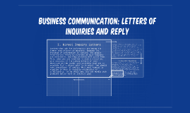 Information letters. Enquiries. Replies and quotation