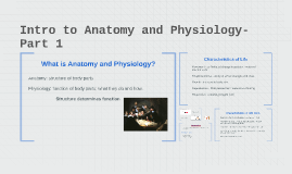 Intro to Anatomy and Physiology- Part 1