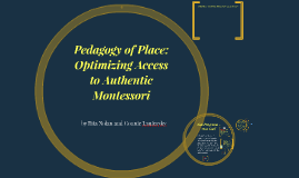 Pedagogy of Place and Its Role in Optimizing Access to Authe
