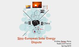 Sino-European Solar Energy Dispute