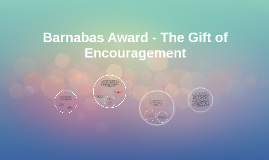 Barnabas Award - A Word of Encouragement