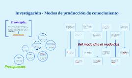 MODOS DE PRODUCCIÓN DE CONOCIMIENTO
