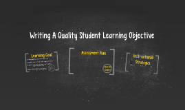Writing A Quality Student Learning Objective