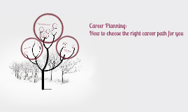 Career Planning:  How to choose the right career path for you