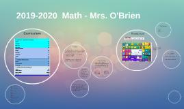 2018-2019  Math - Mrs. O'Brien
