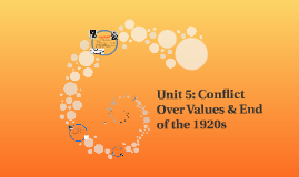 Unit 5: Conflict Over Values & End of the 1920s
