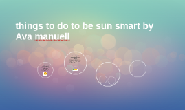 things to do to be sun smart