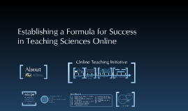 Creating a Formula for Success in Teaching Sciences Online