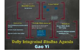 GAO YI Integrated Studies Agenda