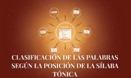 CLASIFICACIÓN DE LAS PALABRAS SEGÚN LA POSICIÓN DE LA SÍLABA