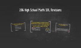 2016 High School Math SOL Revisions