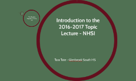 Introduction to the 2016-2017 Topic Lecture