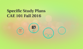 Specific Study Plans