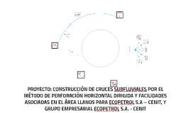 PROYECTO: CONSTRUCCIÓN DE CRUCES SUBFLUVIALES POR EL MÉTODO