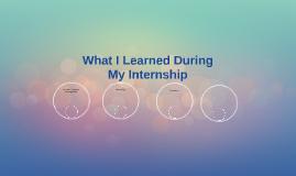 Internship Learnings