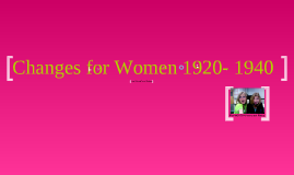 Changes for Women 1920- 1940