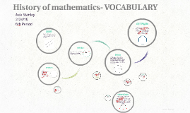 History of mathematics- VOCABULARY