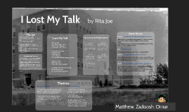 Analysis of I Lost My Talk by Rita Joe