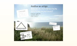Análise ao artigo - RIGOR IN INFORMATION SYSTEMS POSITIVIST