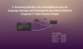 E-learning activities for articulation in speech language th