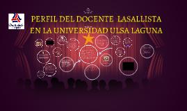 PERFIL DEL DOCENTE  LASALLISTA