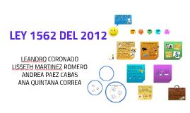 LEY 562 DEL 2012