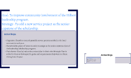 Goal: To improve community involvement of the Hilbert leader