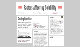Factors Affecting Solubility: Group 6