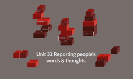Unit 32 Reporting people's words & thoughts