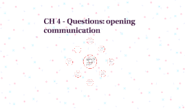 Questions: opening communication