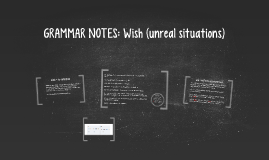 GRAMMAR NOTES: Wish (unreal situations)