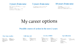 Career, academic, and professional goals and options