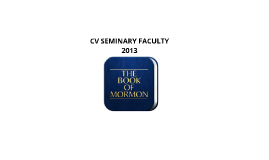CV SEMINARY FACULTY