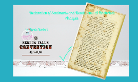 declaration of sentiments analysis You will work with your group to analyze three excerpts from the declaration of  sentiments, the document created at the seneca falls convention excerpt a.
