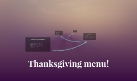 Thanksgiving menu!