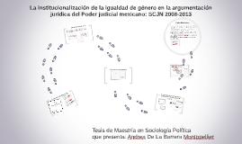 Tesis: La institucionalización de la igualdad de género en el poder