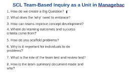 SCL Team-Based Inquiry as a Unit in Managebac