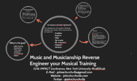 Music and Musicianship Reverse Engineer your Musical Training