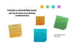Exclusión y vulnerabilidad social: