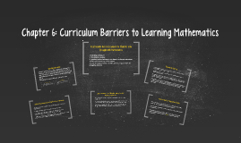 Chapter 6: Curriculum Barriers to Learning Mathematics