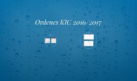 Ordenes KIC 2016/2017